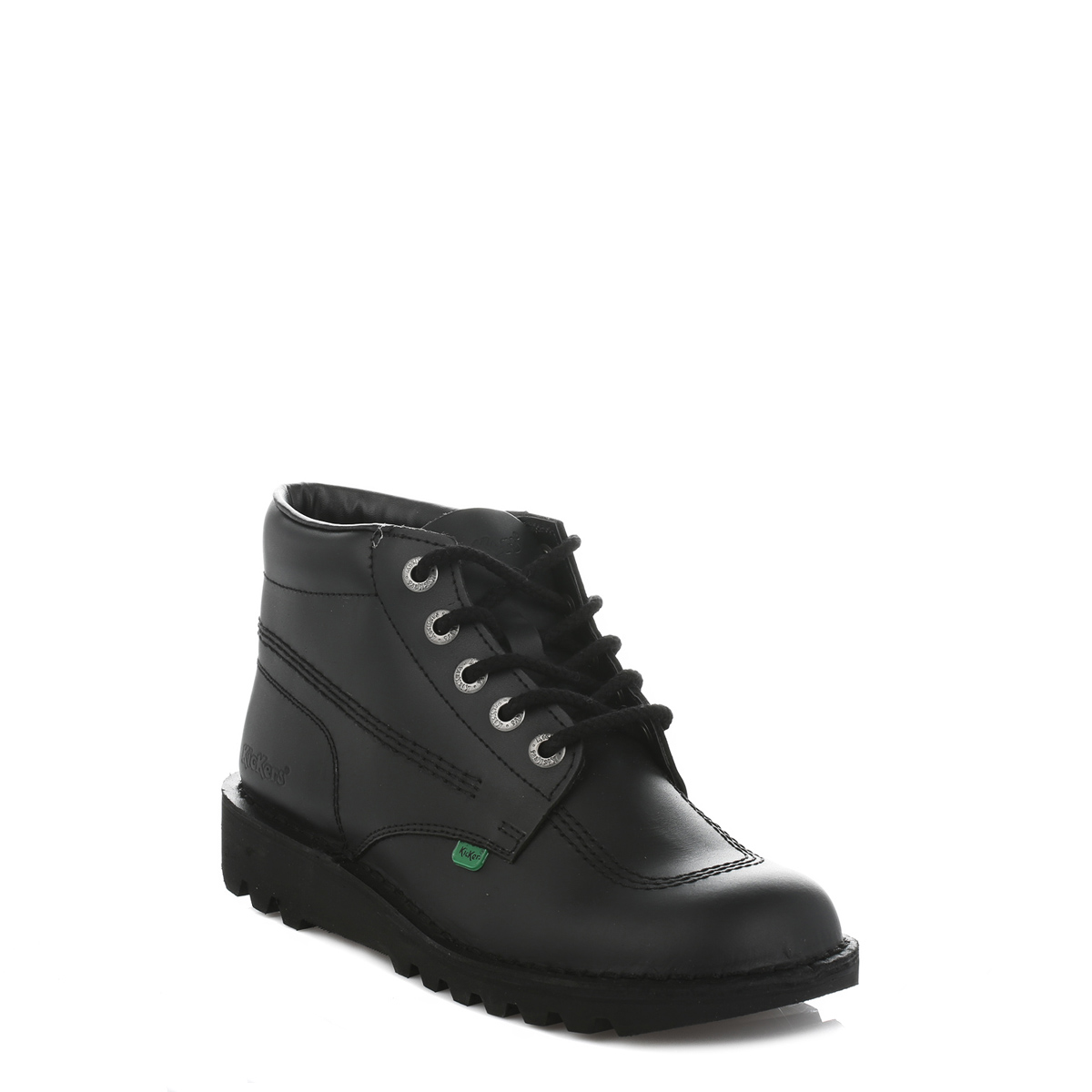 kickers kick hi girls boys kids black leather ankle boots
