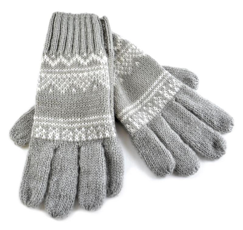 Tom Franks Fair Isle Gloves Scarf Hat Grey/Latte Color Ladies ...