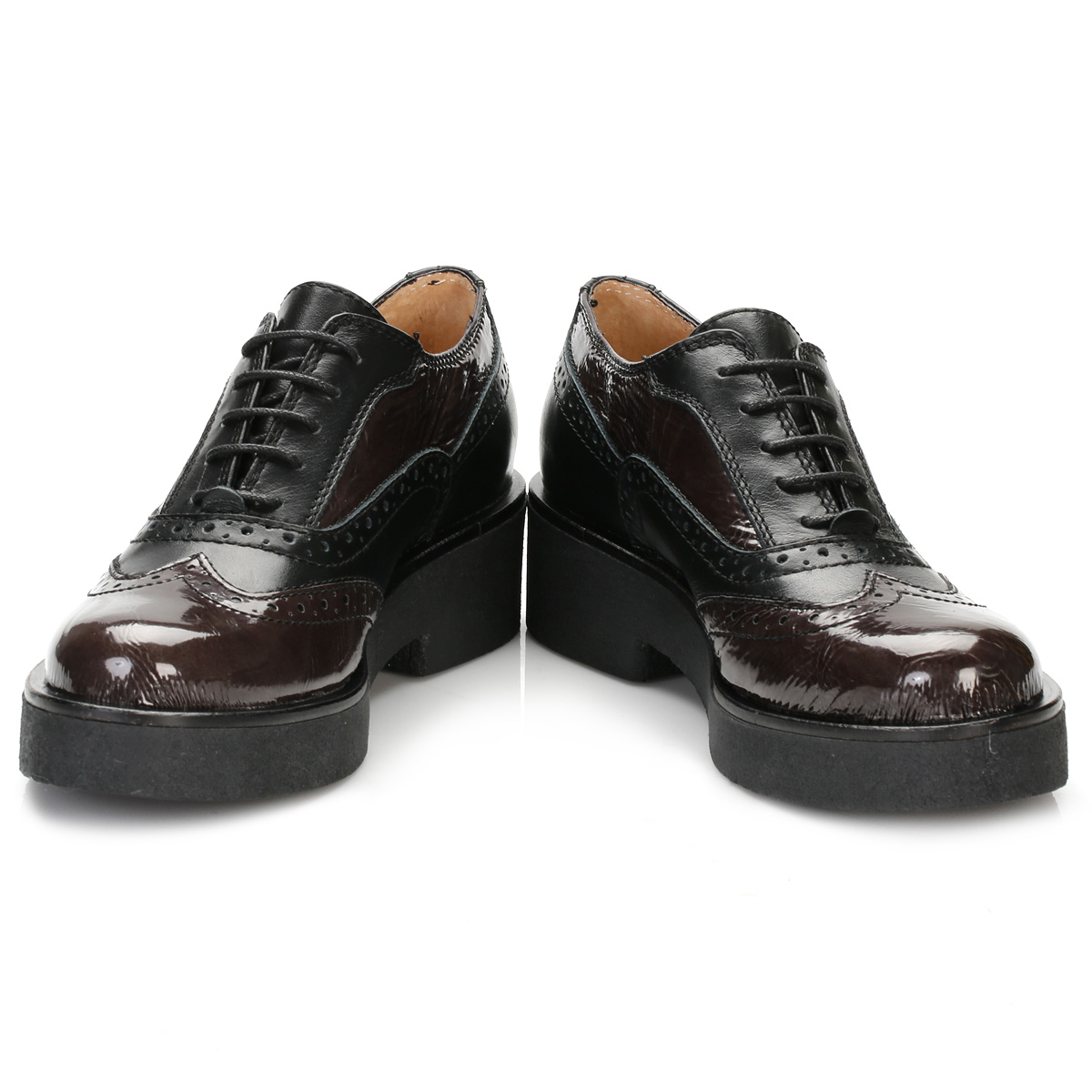 tower womens black platform oxford brogues leather