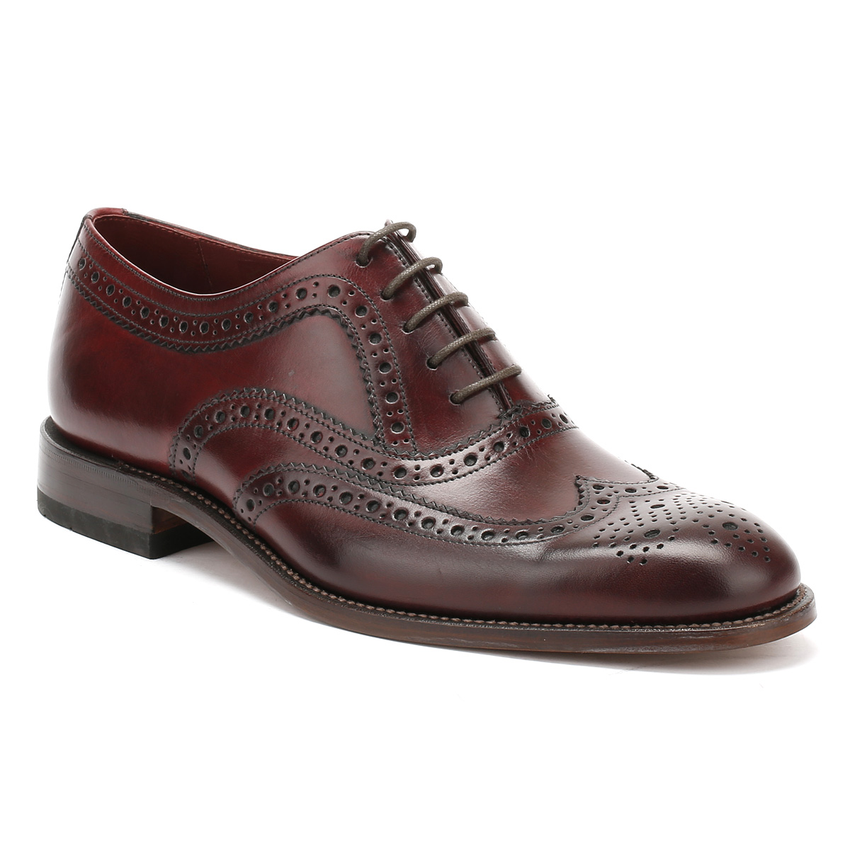 loake mens brogue shoes burgundy fearnley smart casual