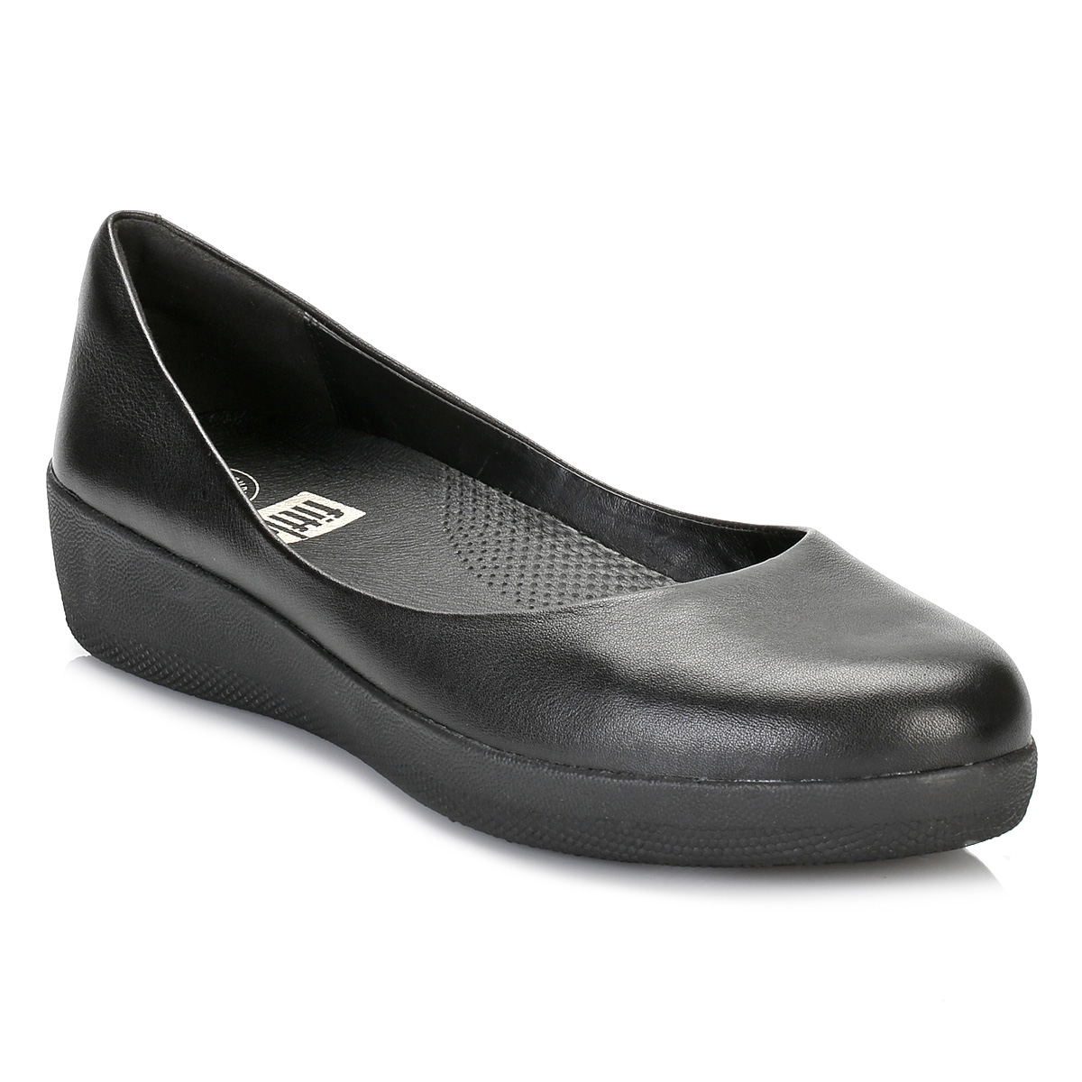 fitflop womens black leather ballerina flat pumps casual