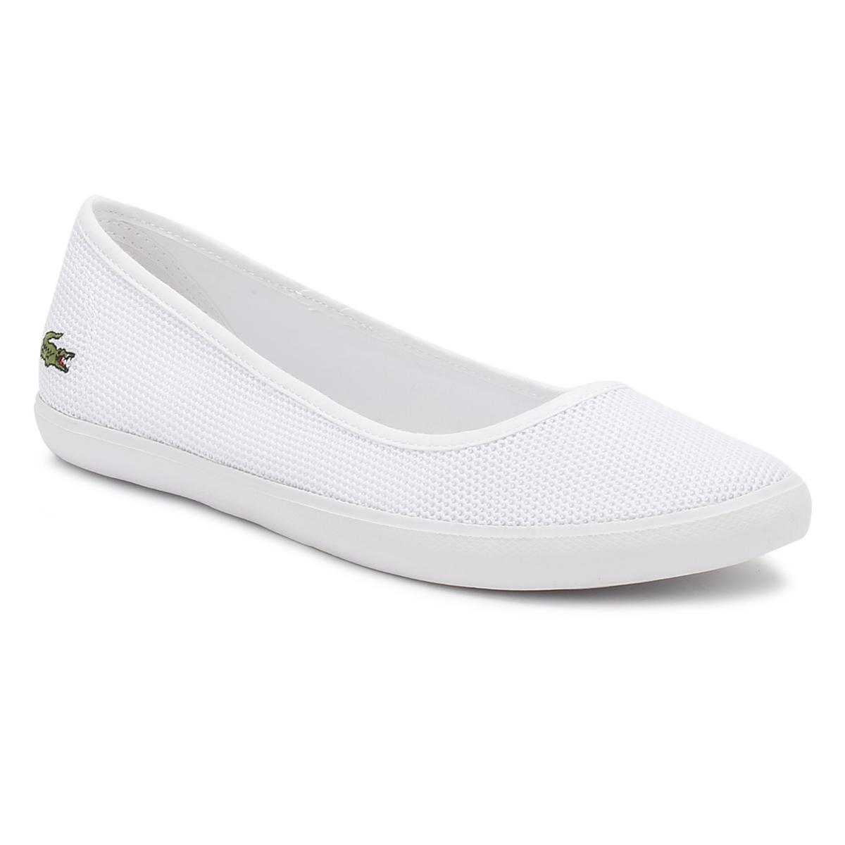 lacoste womens white ballerina shoes textured textile upper ladies flats ebay. Black Bedroom Furniture Sets. Home Design Ideas