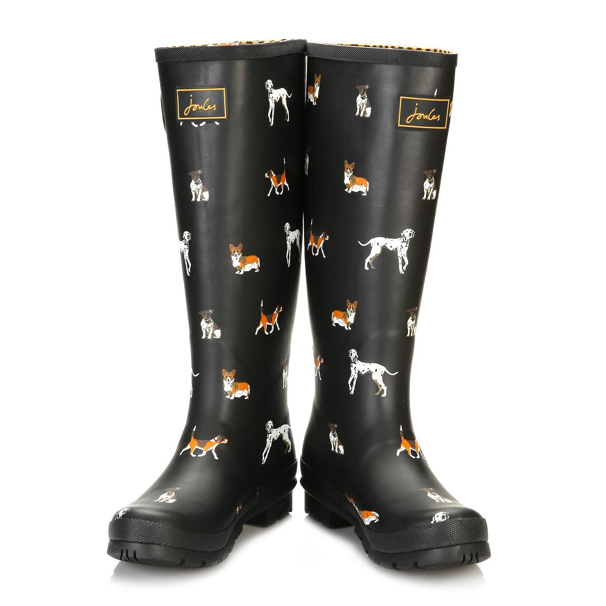 joules womens mid calf black wellington boots chip