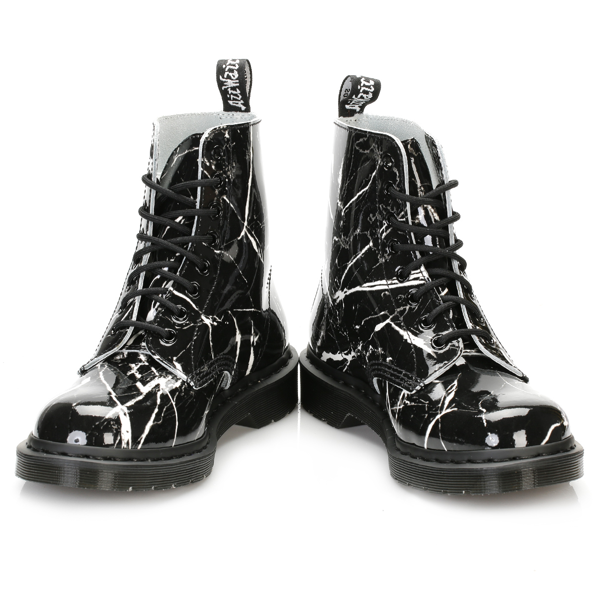 Dr Martens Womens Black Patent Leather Boots Marble