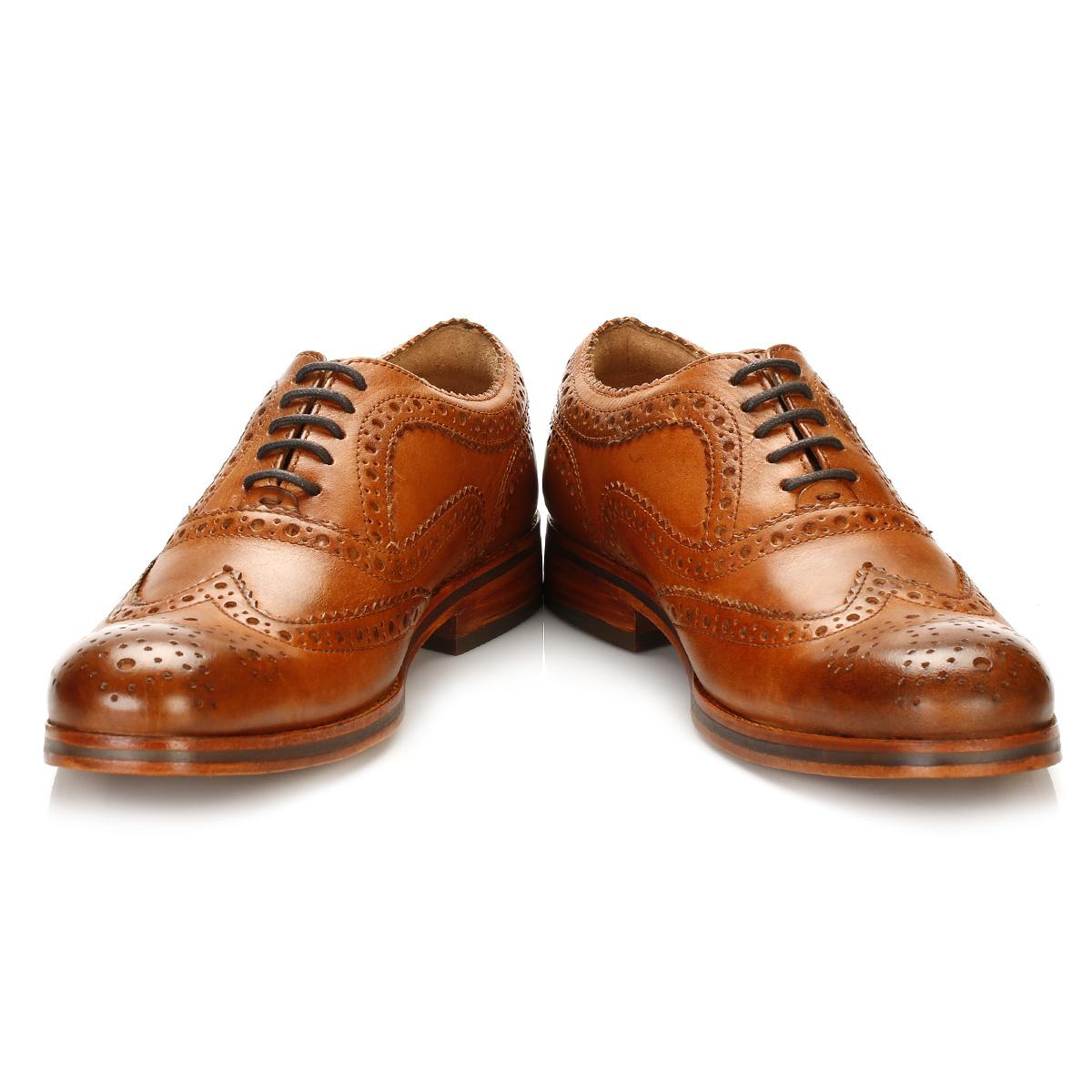 hudson mens brown oxford brogues wingtip leather smart