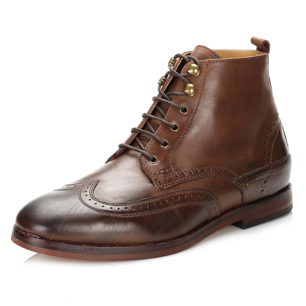hudson mens brown penley brogue boots wingtip leather
