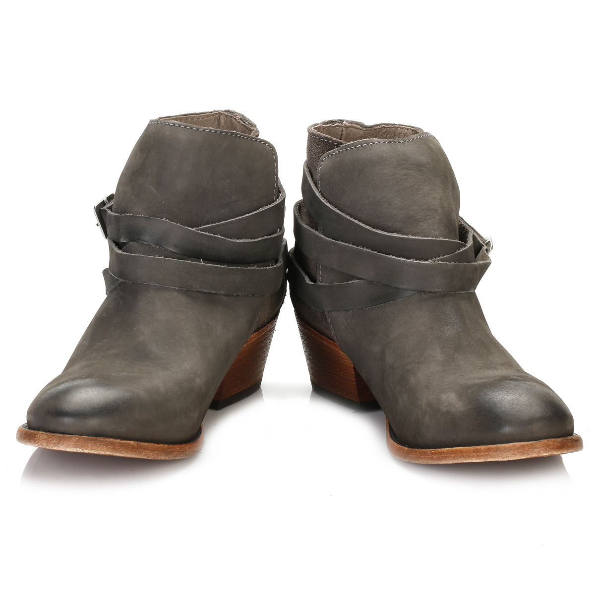 hudson womens grey horrigan ankle boots mid heel leather