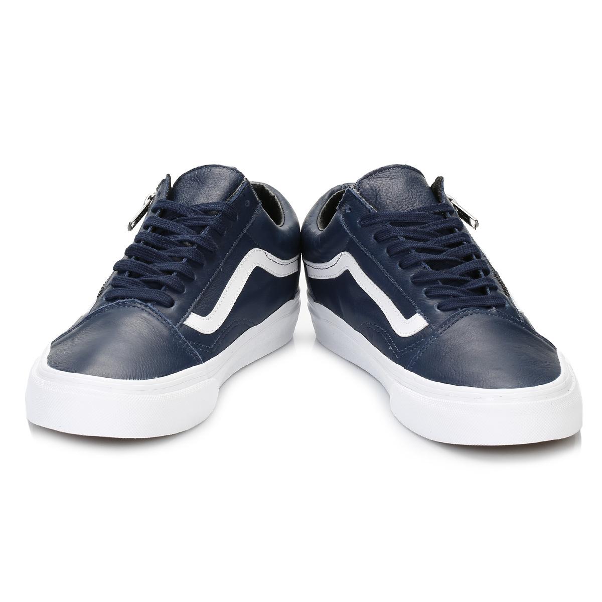 vans homme en cuir baskets bleu et blanc old skool sport loisirs chaussures ebay. Black Bedroom Furniture Sets. Home Design Ideas