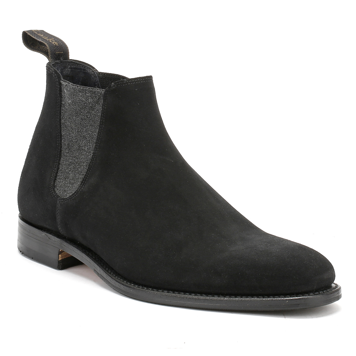 loake mens ankle boots chelsea caine black suede
