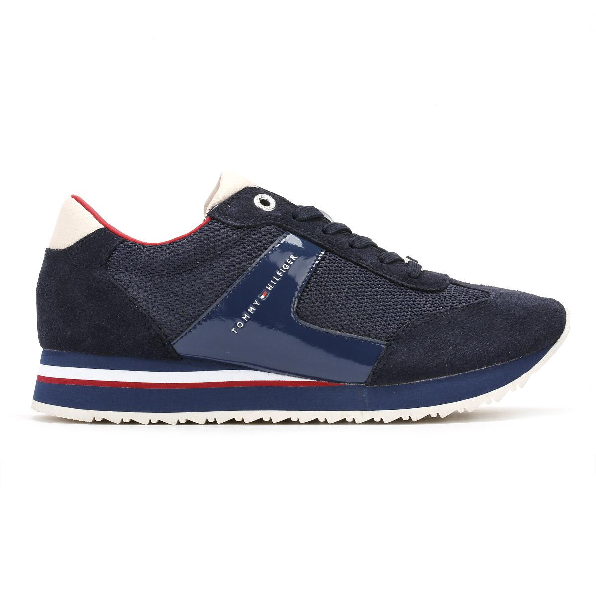 tommy hilfiger womens trainers navy blue 1c1 runner. Black Bedroom Furniture Sets. Home Design Ideas