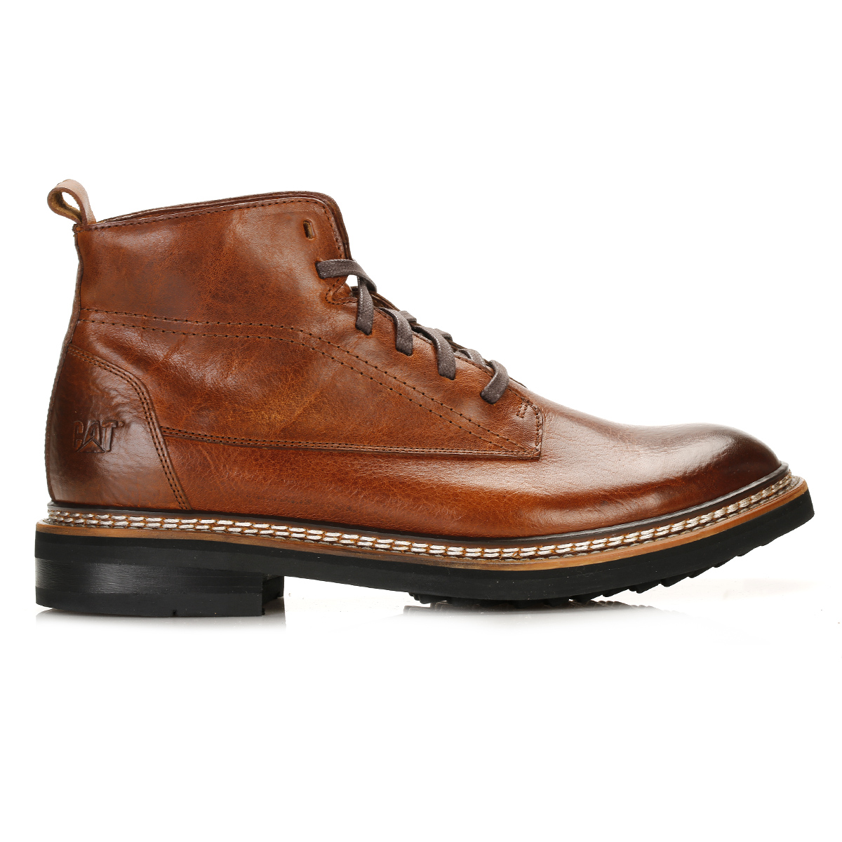 CAT Caterpillar Mens Brown Leather Chukka Boots Goodyear-Welted Ankle Shoes | EBay