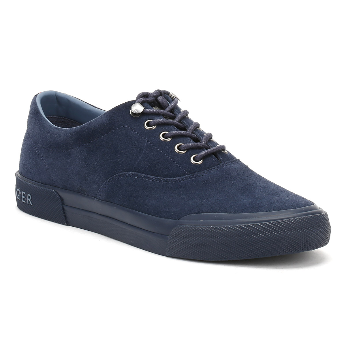 Tommy Hilfiger Mens Navy Blue Suede Trainers Lace Up Sport ...