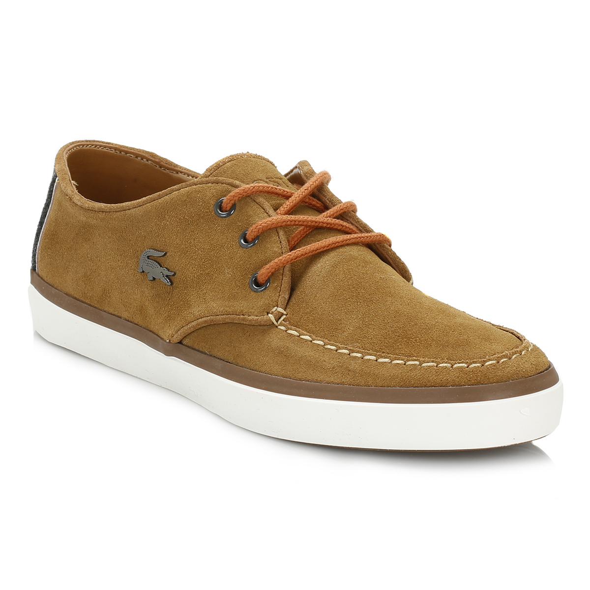 lacoste mens brown sevrin 2 lcr suede shoes lace up