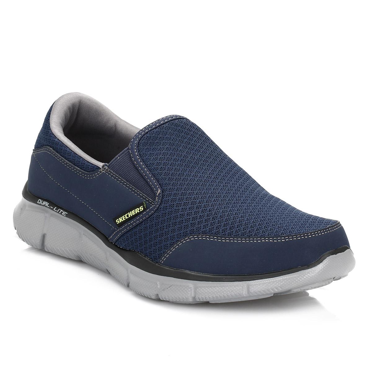 skechers mens navy grey persistent equalizer trainers dual lite sport shoes ebay. Black Bedroom Furniture Sets. Home Design Ideas