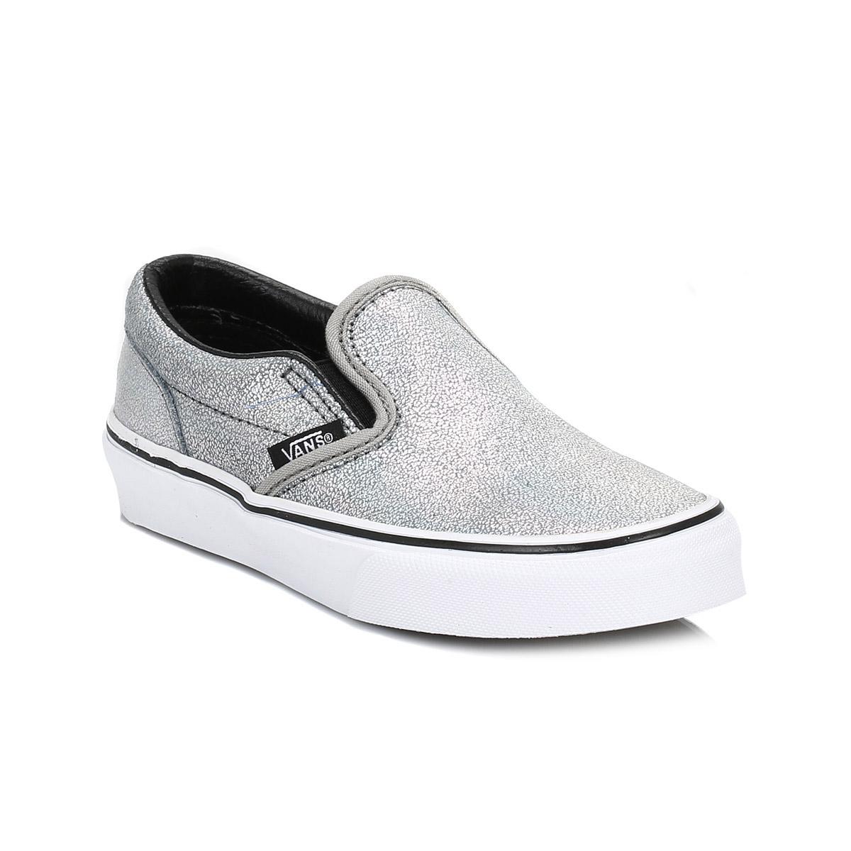 Vans Kids Girls Boys Trainers Iridescent Silver Slip