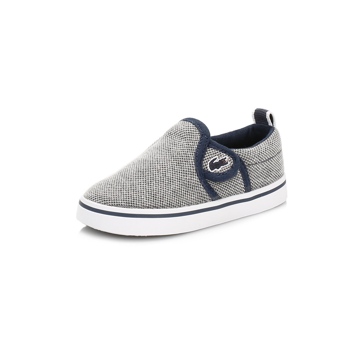 Lacoste Infants Trainers Navy Blue Gazon Slip On Hook & Loop Canvas Sport Shoes