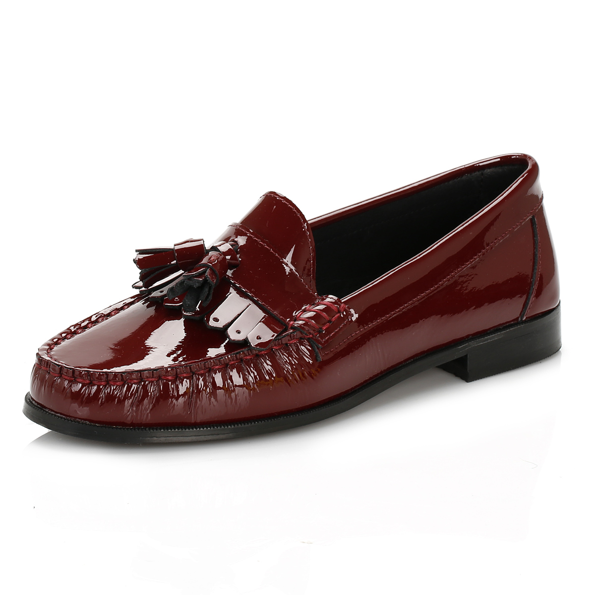 Black Leather Ladies Moccasin Shoes