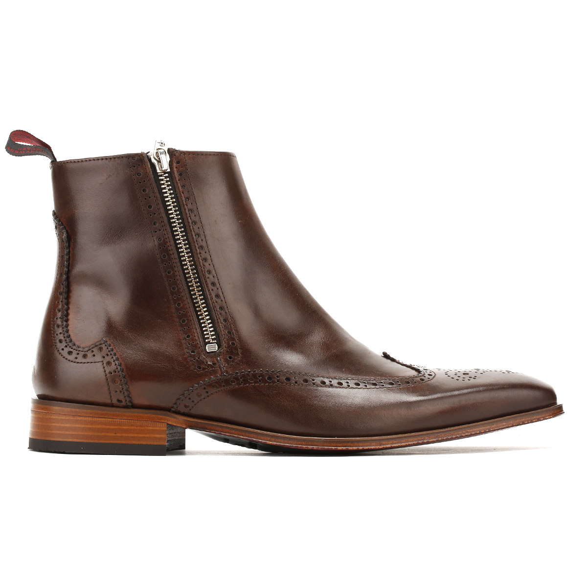 jeffery west mens brown chelsea boots zip up brogue
