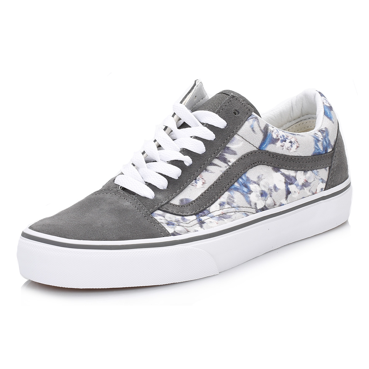 25cc064422 Vans Womens Floral Pewter White Old Skool Suede Trainers Lace Up ...