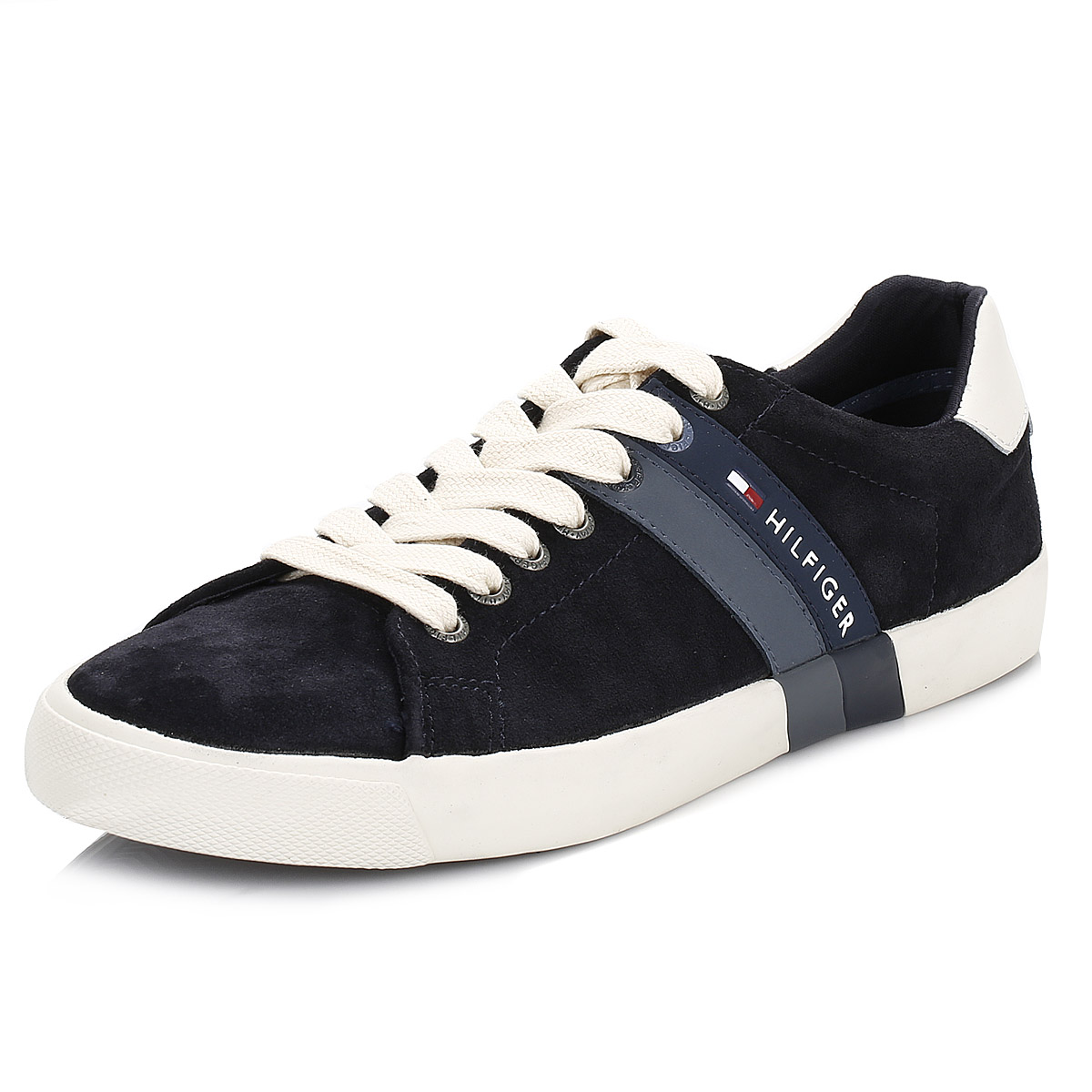 tommy hilfiger mens trainers blue volley 5a leather lace. Black Bedroom Furniture Sets. Home Design Ideas
