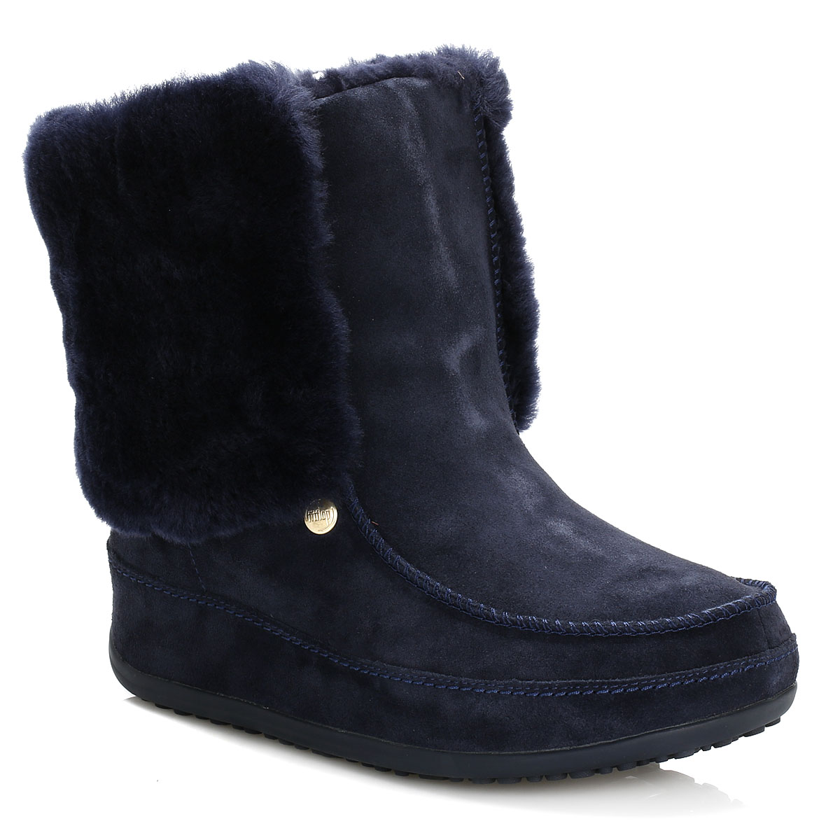 FitFlop Women Boots Navy Blue Supercuff Mukluk Suede