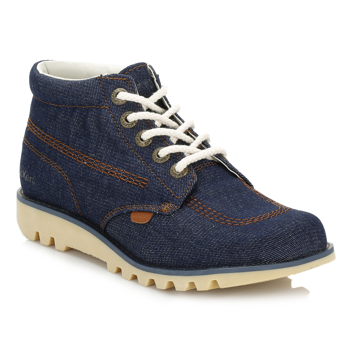 Kickers Womens Kick Hi Denim Boots Blue LaceUp Ladies ...