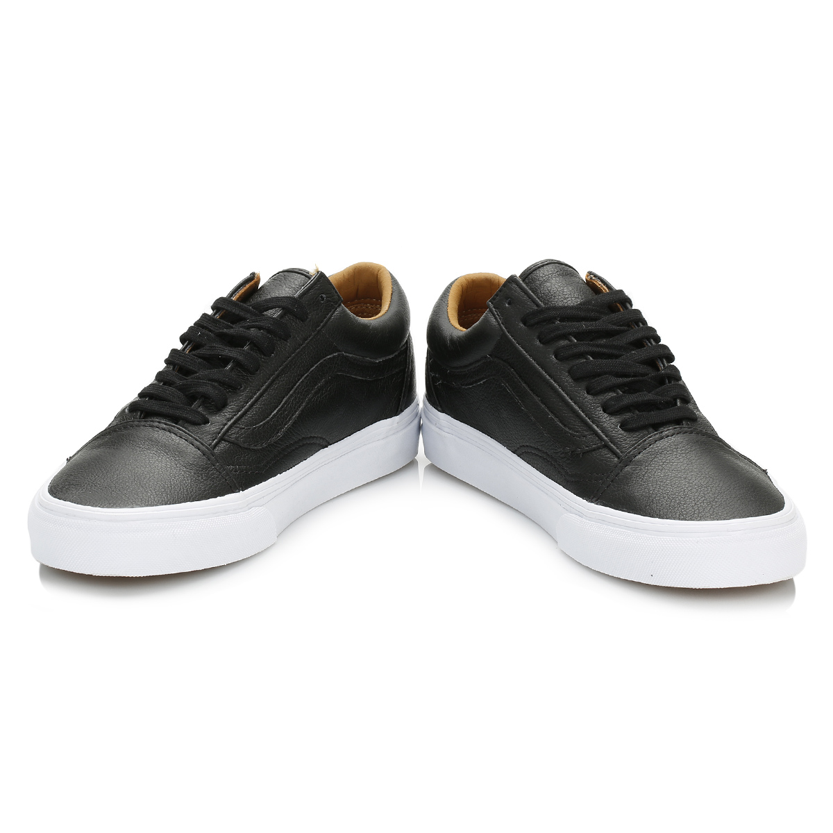 Men Vans Old Skool Premium Leather Trainers Black White