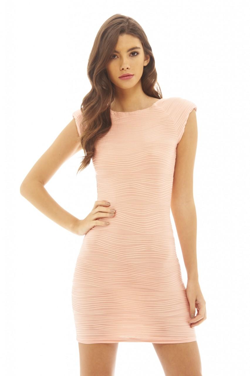 Ripple Bodycon - Ax Paris - Cream - Party Dresses