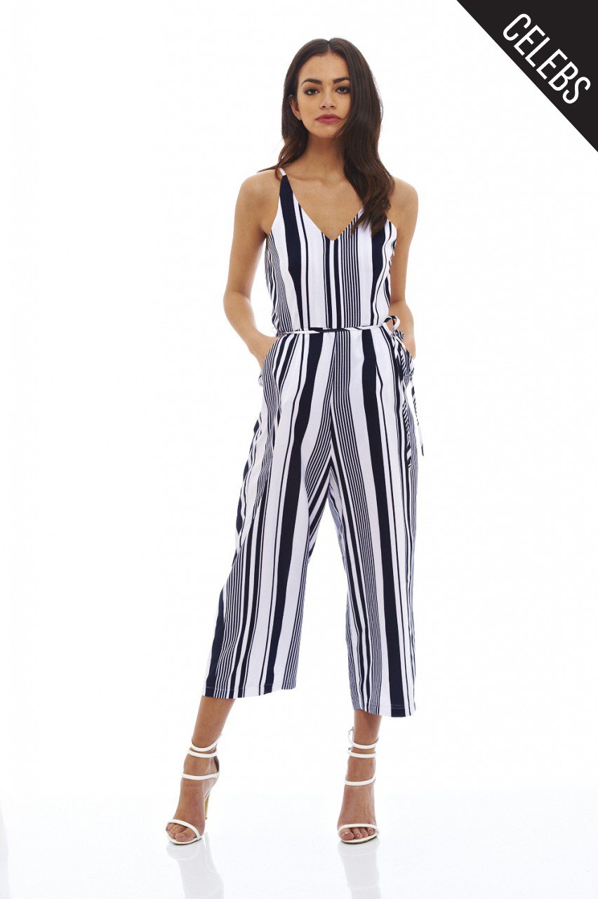 AX Paris Womens Jumpsuit Navy Blue Striped V Neck Sleeveless ...