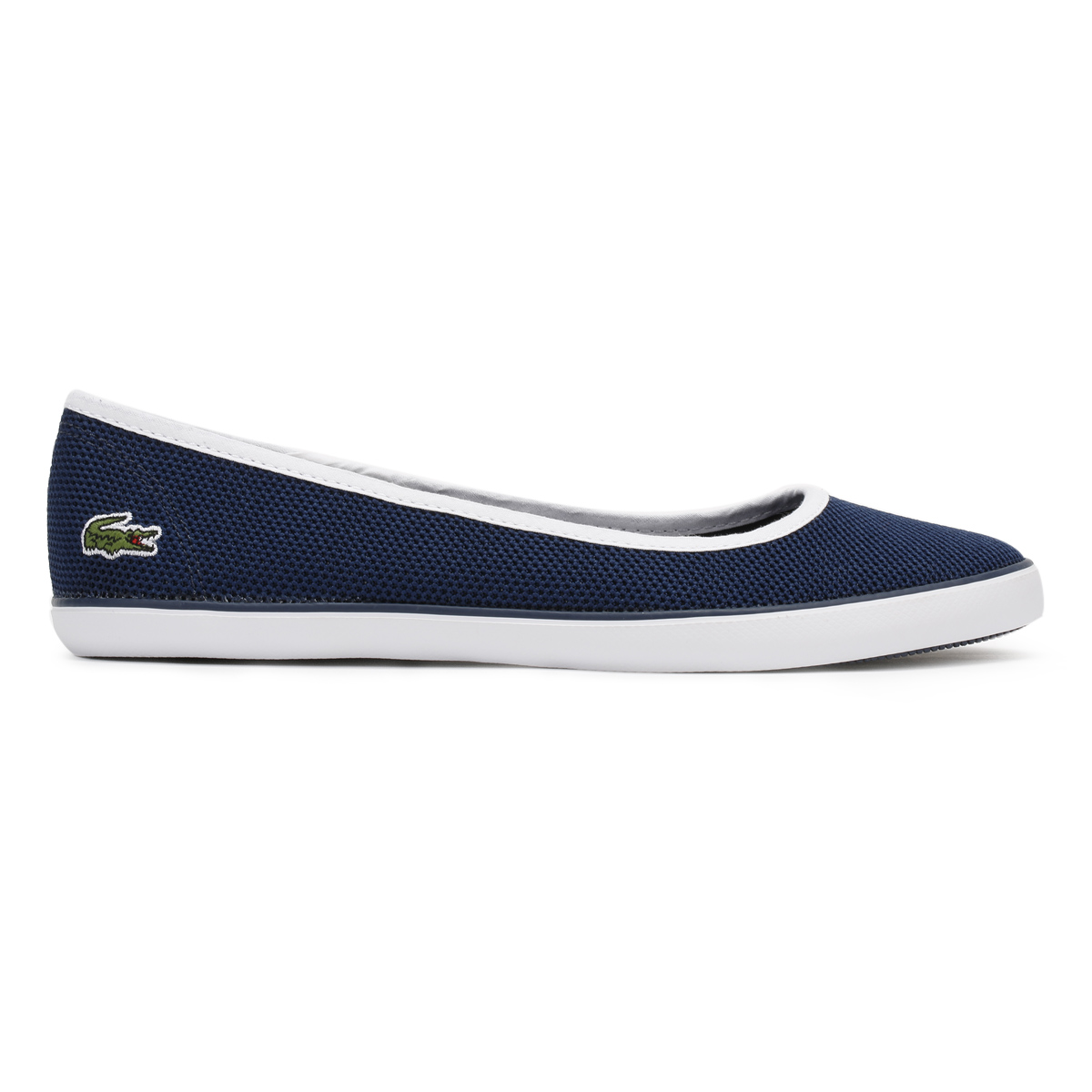 lacoste womens ballerina shoes textured textile upper ladies casual flats ebay. Black Bedroom Furniture Sets. Home Design Ideas