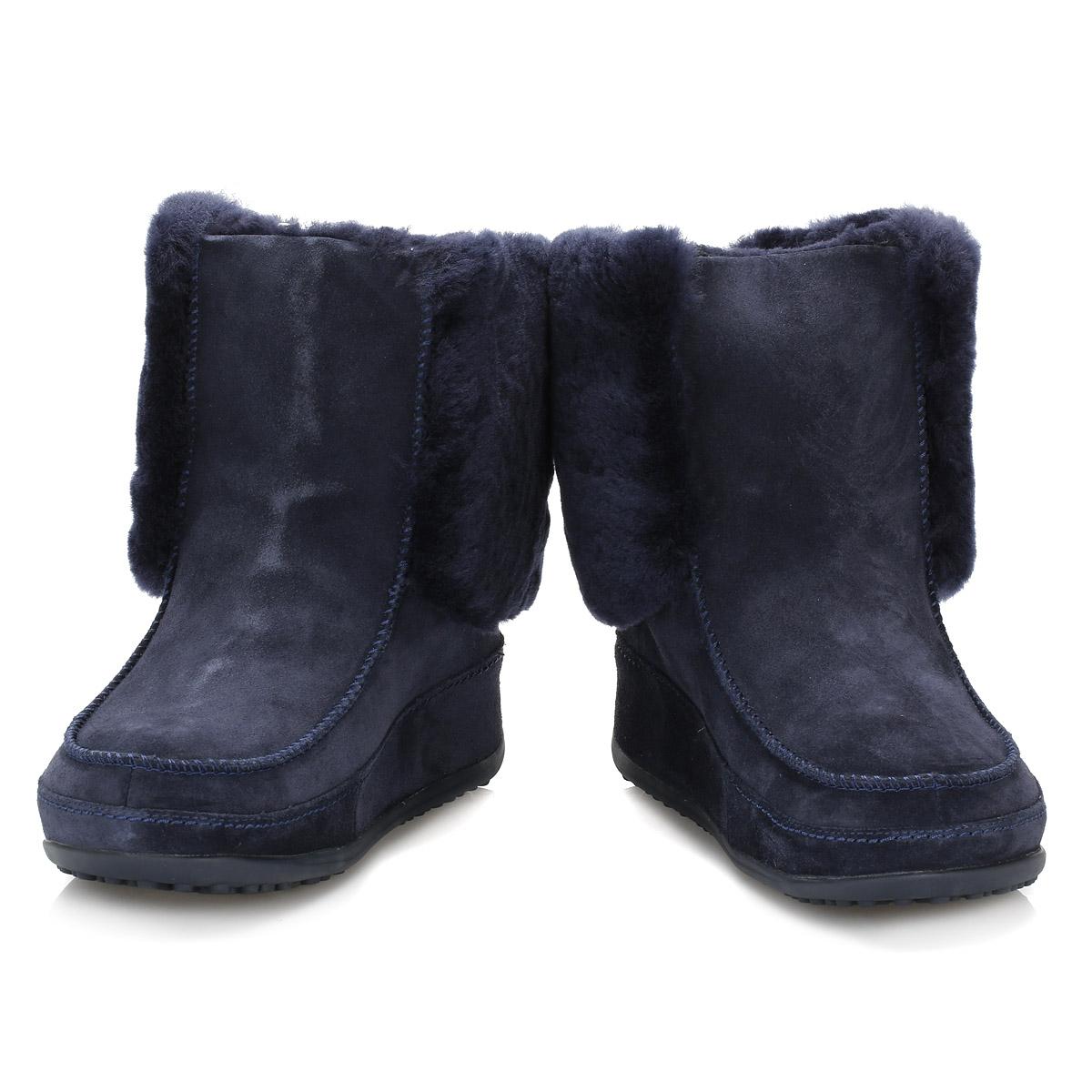 FitFlop Women Navy Blue Suede Boots, Supercuff Mukluk
