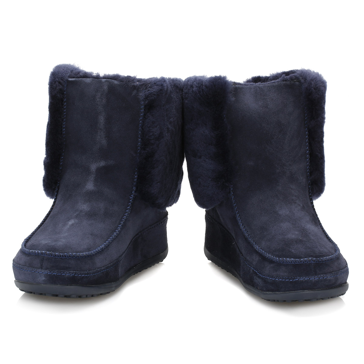 fitflop navy blue suede boots supercuff mukluk