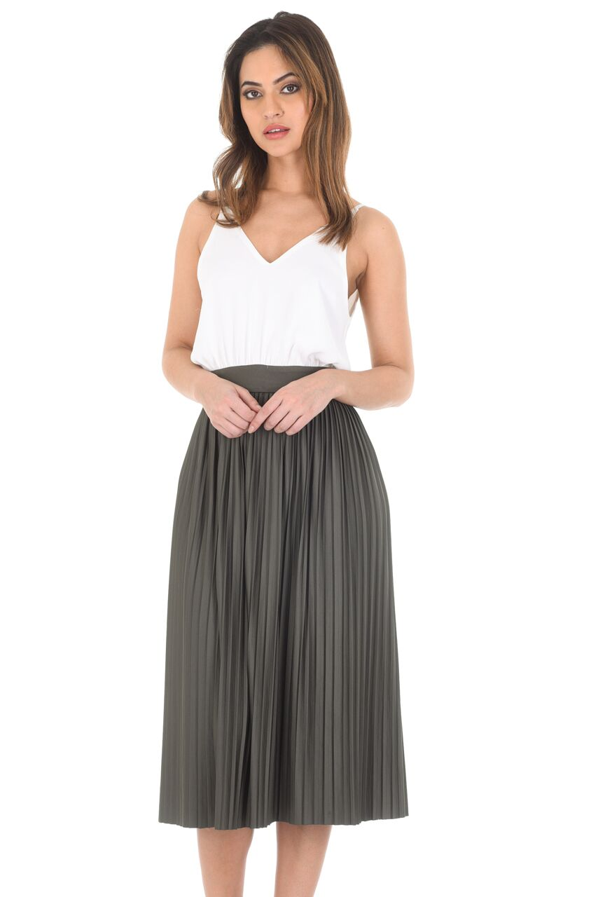ax womens 2 in 1 pleated skirt dress v neck strappy