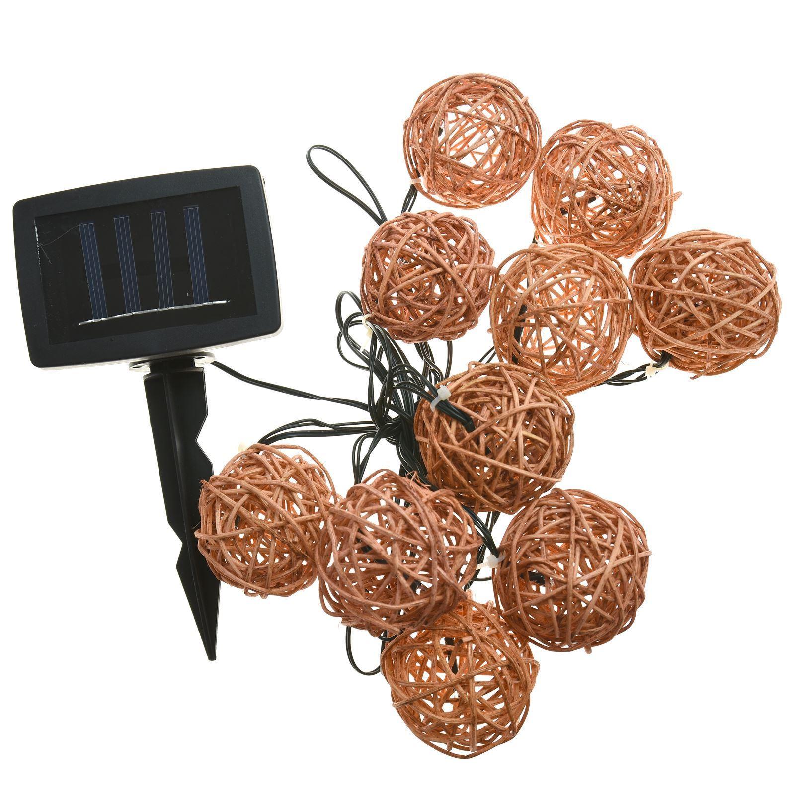 10 Rattan LED String Lights, Solar Powered, Garden Decoration, Auto On/Off eBay