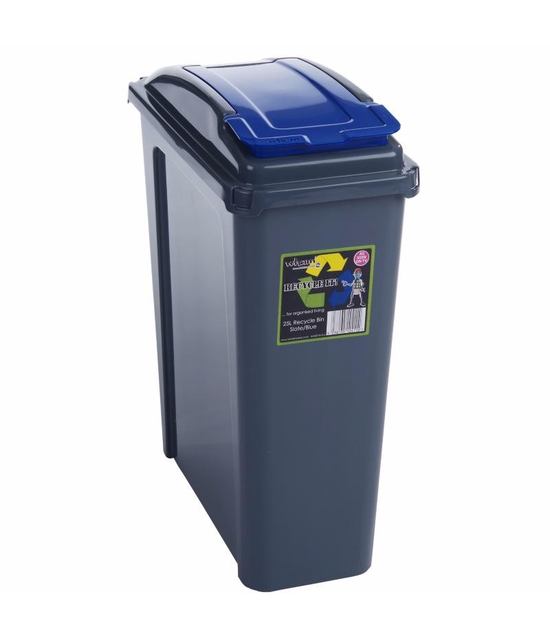 Recycle bin 25 50 litre plastic slimline waste rubbish trash dustbin with lid ebay - Slimline waste bin ...