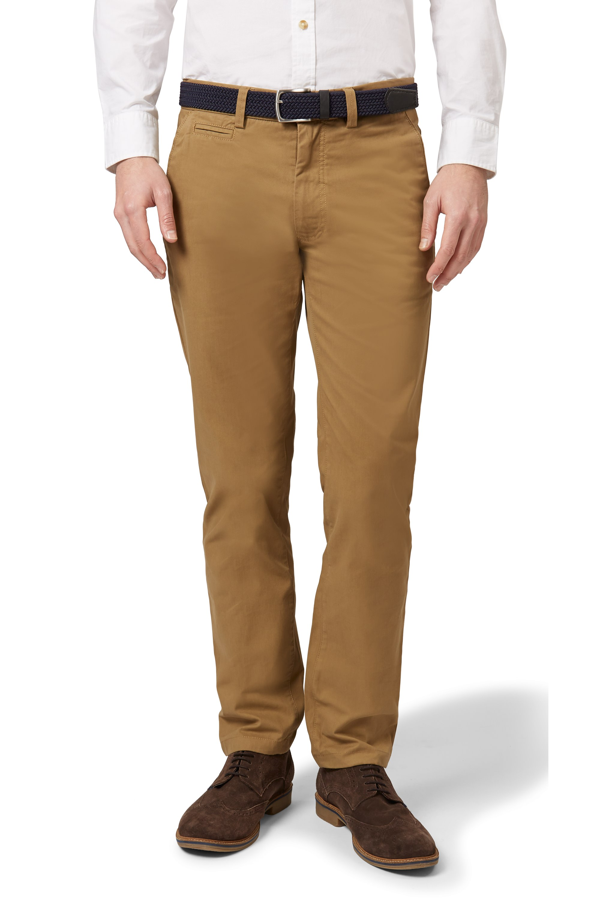 Moss 1851 Mens Tobacco Brown Chinos Tailored Fit Cotton Trousers ...