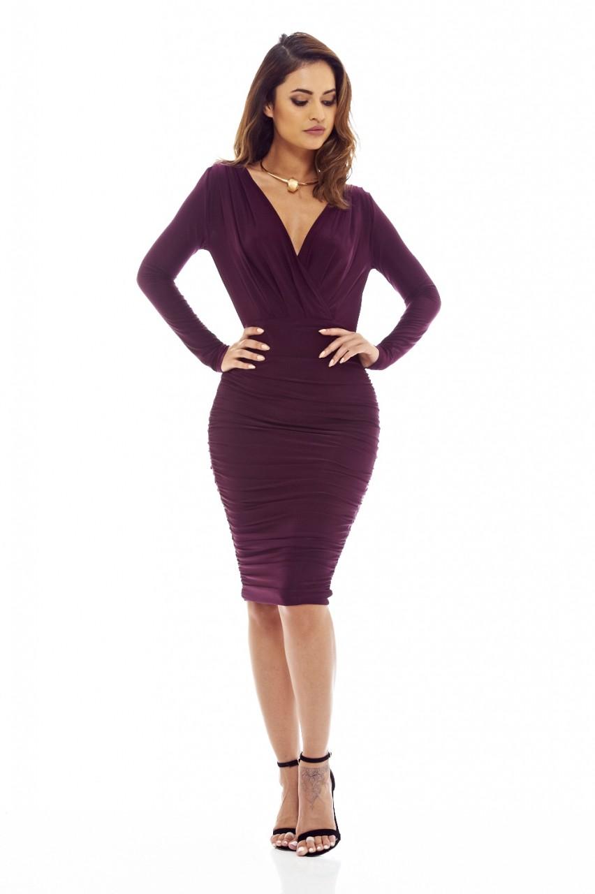 Ax Paris Womens Midi Dress Bodycon Plum Purple Slinky V
