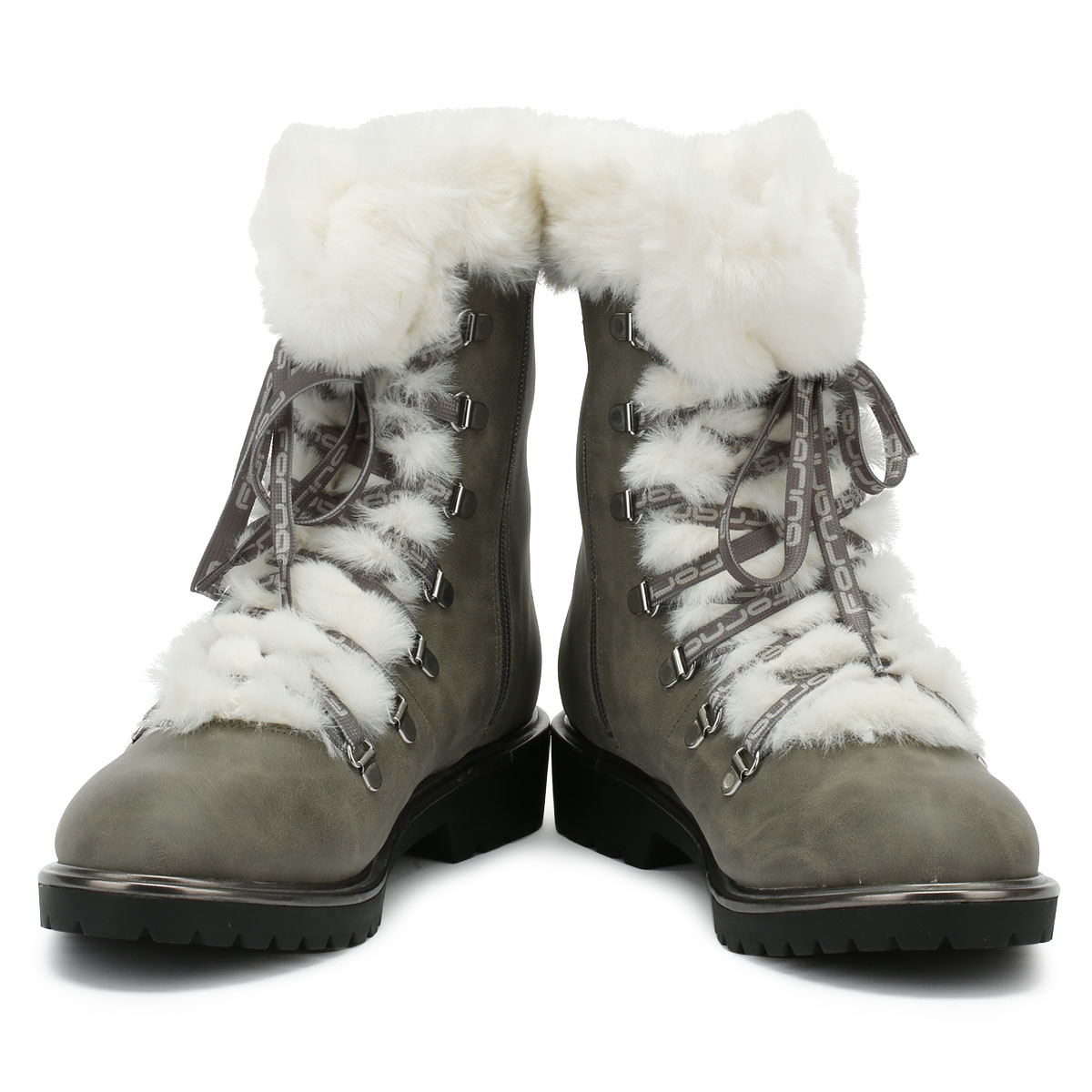 Fornarina Mik Fur Womens Grey Boots Lace Up Leather Warm Winter Shoes