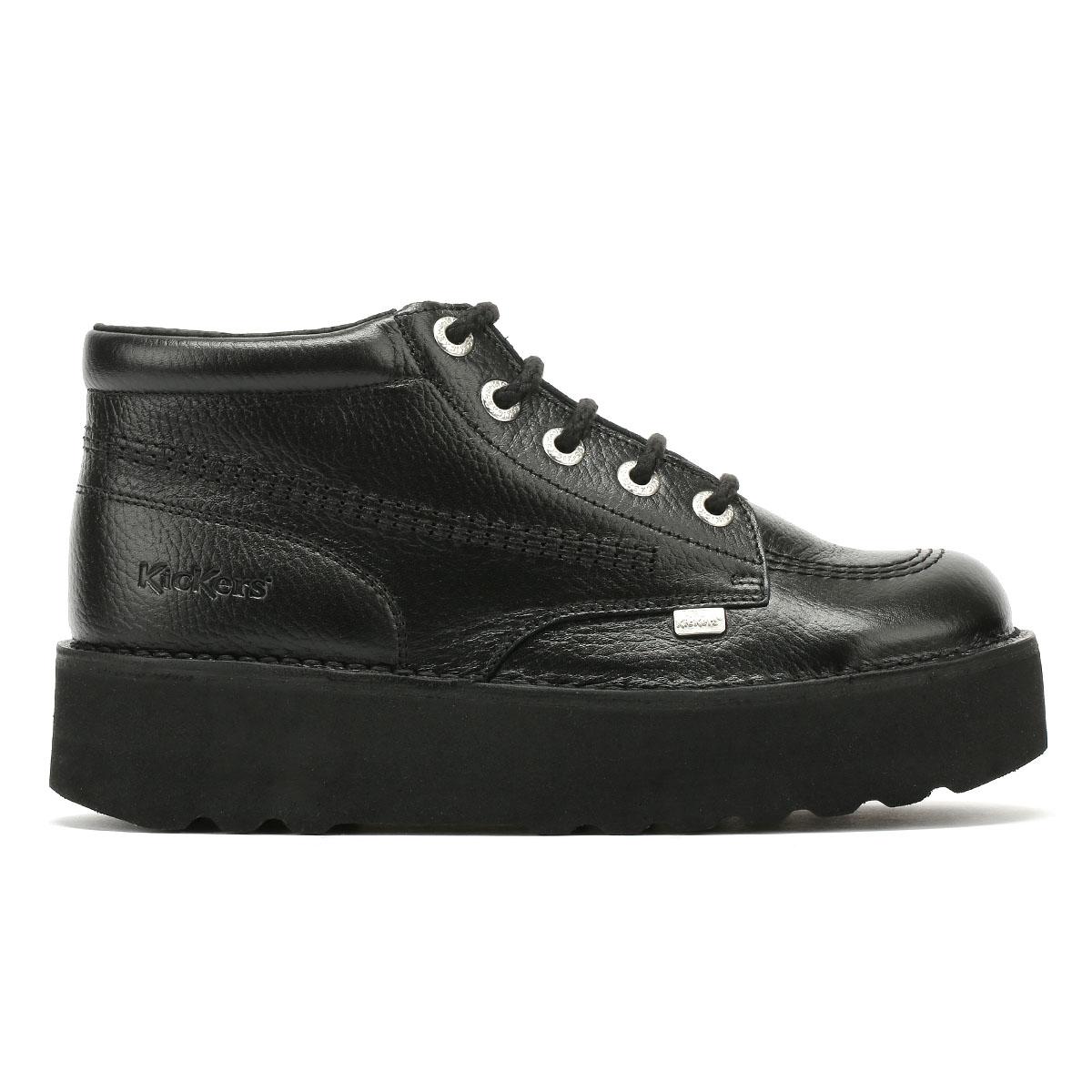 Kickers Kick Hi Womens Black Leather Platform Boots Lace Up Casual Shoes