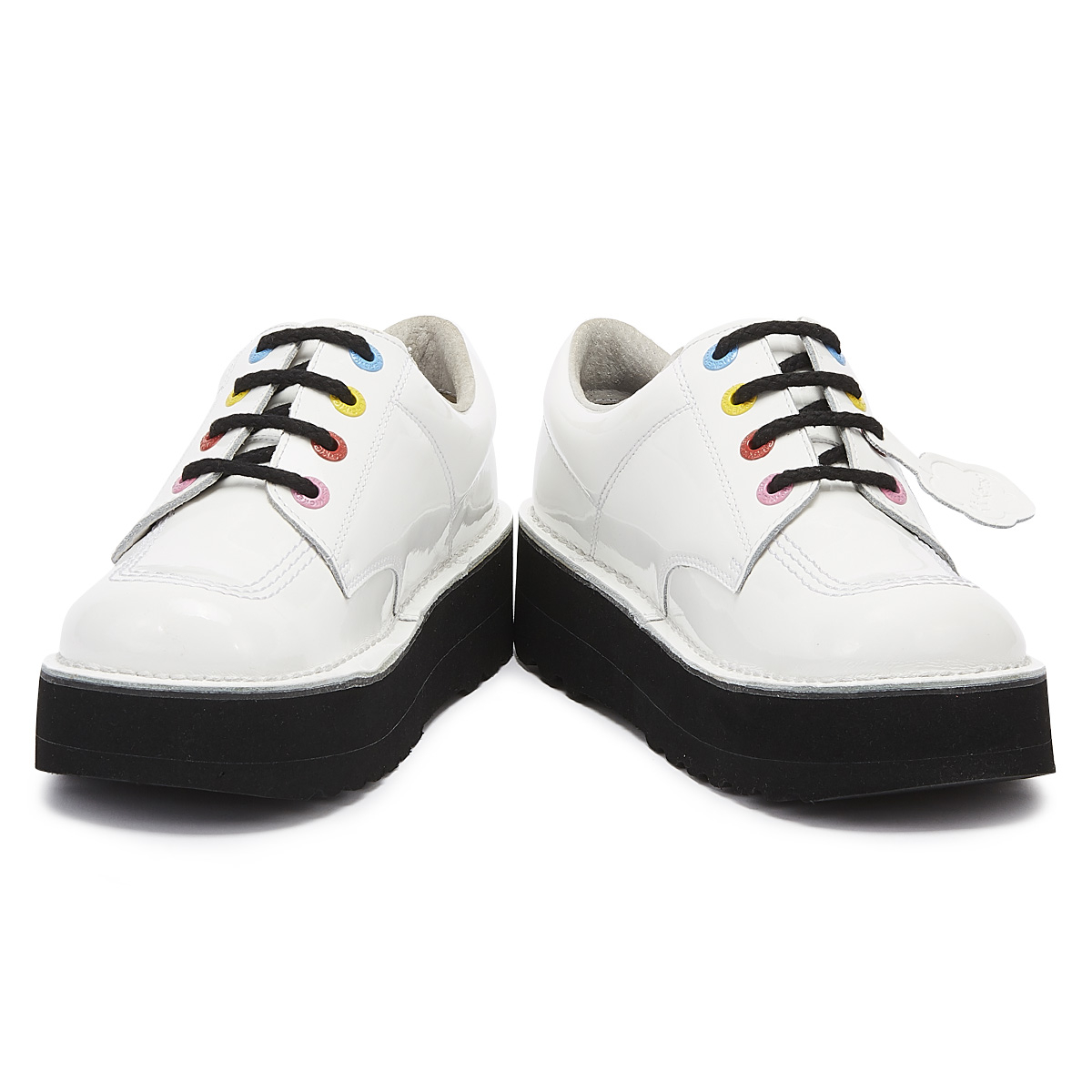 Kickers Kick Lo Stack Womens White Shoes Lace Up Leather Ladies Platforms
