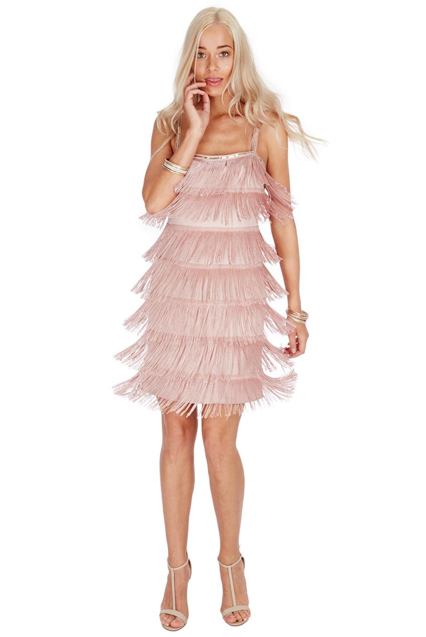 Goddiva Womens Nude Mini Gatsby 20\'s Flapper Fringe Dress, Strappy ...