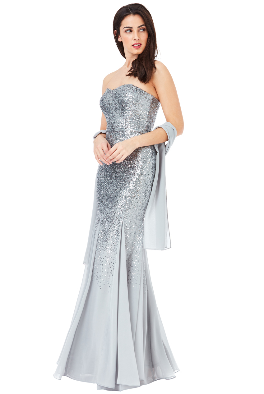 Goddiva Womens Silver Bridesmaids Maxi Dress, Sequin and ...