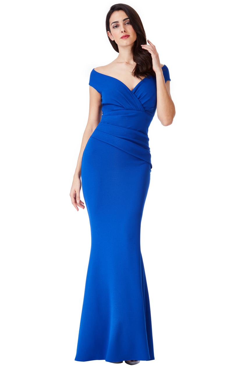 Goddiva Womens Royal Blue Maxi Dress, Pleated Bardot Neck ...