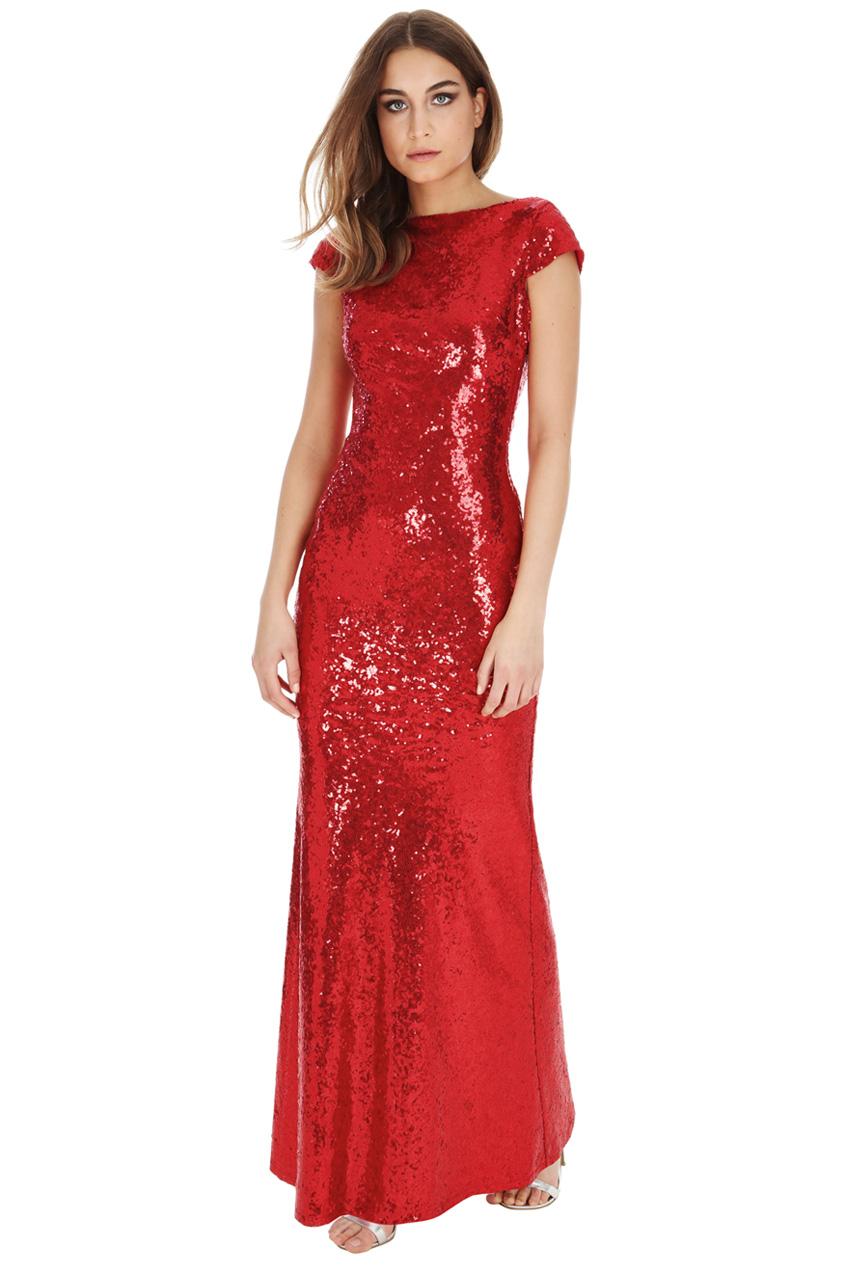 Goddiva red maxi dress