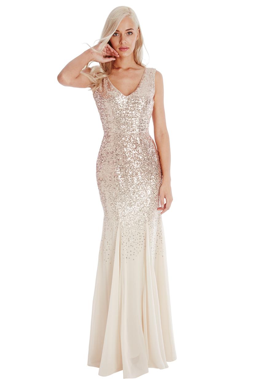 Goddiva womens sequin and chiffon maxi dress champagne v for Champagne seguin