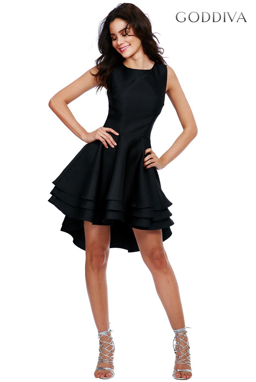 goddiva womens multilayered sleeveless skater dress black
