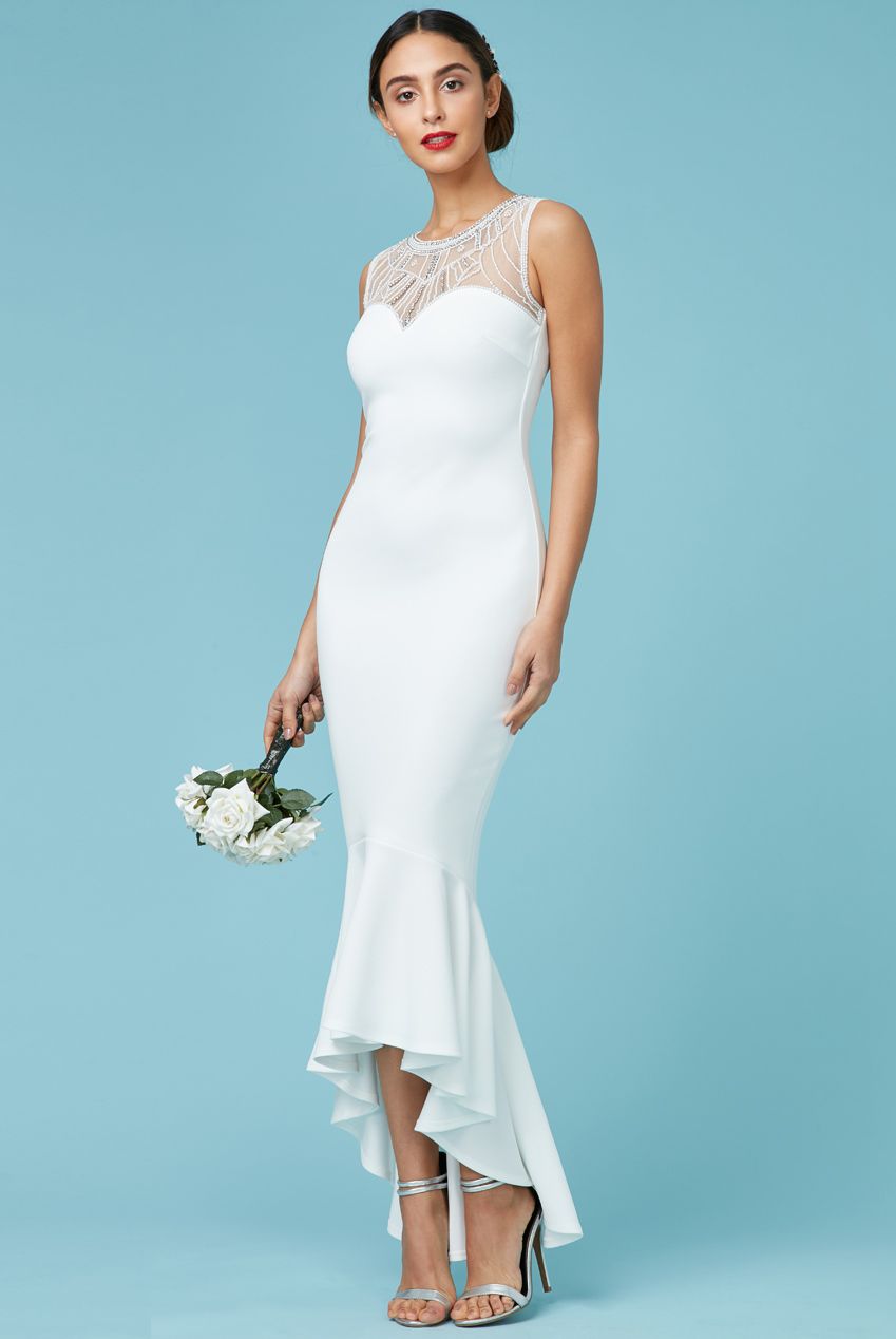 Goddiva Womens Maxi Wedding Dress, White, Embellished, Sleeveless ...