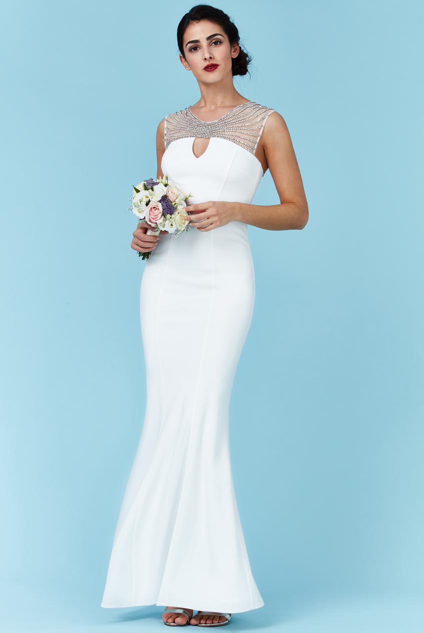 Goddiva Womens White Maxi Wedding Dress, Embellished Neckline ...