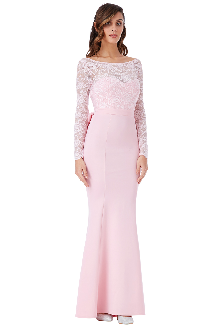 Goddiva Womens Lace Maxi Dress, Pink Open Back with Bow ...