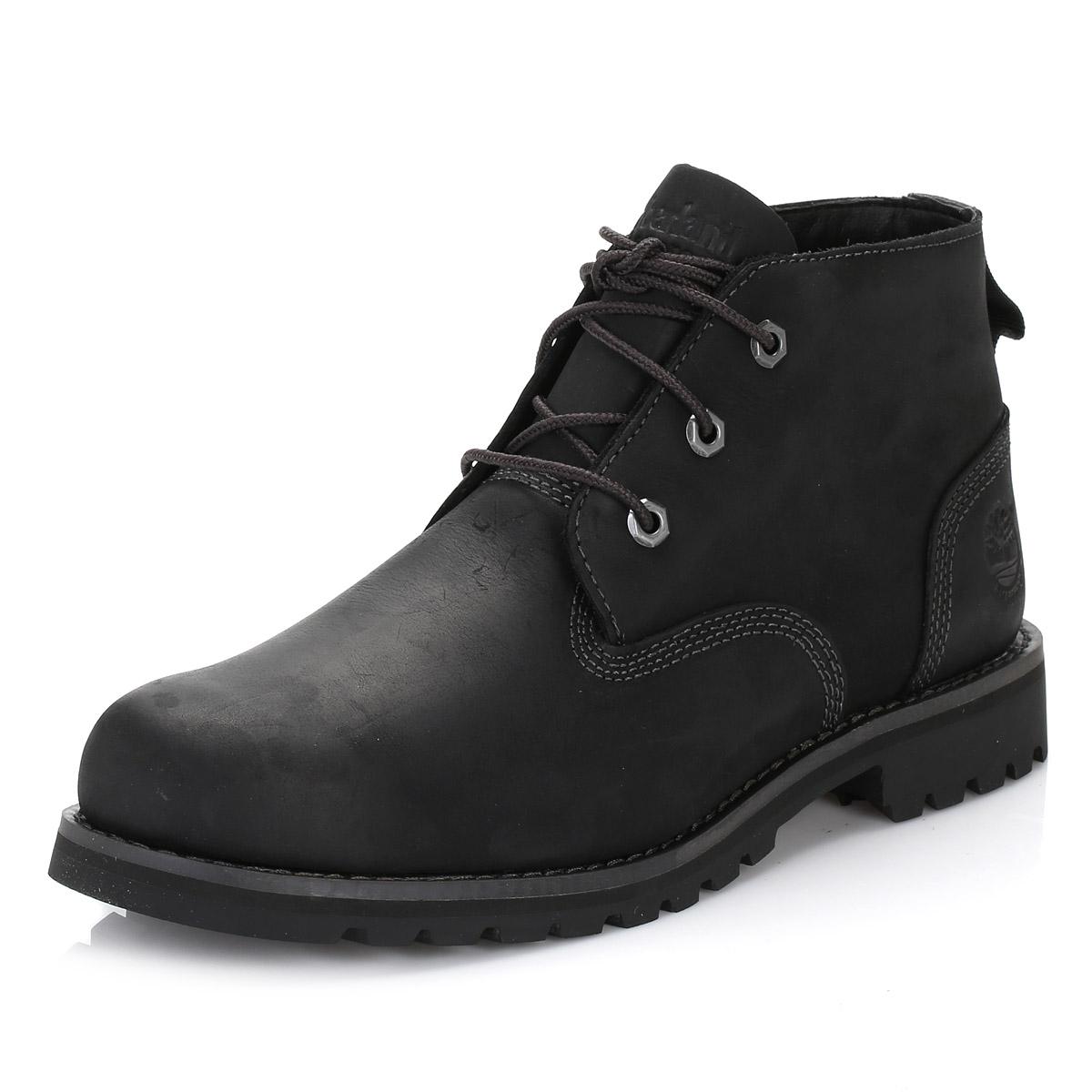 Timberland Mens Chukka Boots Black Leather Larchmont Waterproof